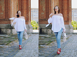 Andreea Birsan - Christian Dior So Real Sunglasses, Sheinside White Off Shoulder Top, Bershka Mom Jeans, Vipme White Crossbody Bag, H&M Red Lace Up Flats - Mom jeans: how to wear them