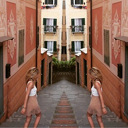 Florence-Olivia Genesse - For Love And Lemons Dress, Pull & Bear White Tank Top - ITALY