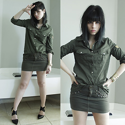 Lidia Zuin - Sammydress Army Green Shirt, Arezzo Black Sandals, Hit Army Green Skirt - Militia