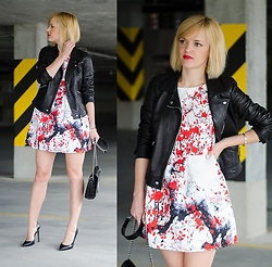 Fasonique - Zara Black Leather Jacket, Zara Black Bag - Red flowers