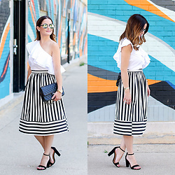 Jenn Lake - Topshop Black And White Striped Midi Skirt, Topshop One Shoulder Ruffle Top, Chanel Medium Quilted Flap Bag, Movado Rose Gold Edge Watch, Steve Madden Black Suede Carrson Sandals, Illesteva Mirrored Milan Iv Sunglasses - Black and White Striped Midi Skirt