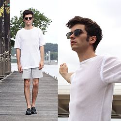 "Matthias C. - Dries Van Noten Fishing Nets T Shirt, Asos Wire Patterned Shorts, Church's Loafers, Oliver Peoples Sunnies - ""Libertas"" - Summer Sixteen"