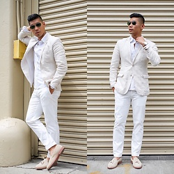 Leo Chan - Zara Linen Jacket, Brooks Brothers White Chinos, J.Crew Suede Tassel Loafers, Uniqlo White Oxford Shirt, Ray Ban Ray Bans, Mvmt Chronograph Watch - Summer Neutrals - NYFWM