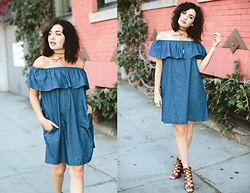 Michelle Dion - Love Culture Denim Off Shoulder Dress, Love Culture Lace Up Heels - Denim Days