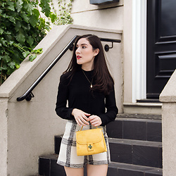 Carolina Pinglo - Armani Exchange Black Chiffon Blouse, Zara Yellow Bag, Zara Tweed Shorts - Cream and black tweed shorts