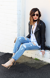 Emily S - One Teaspoon Ripped Jeans, Black Leather Jacket - One Teaspoon
