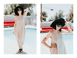 Ashley Ballard - Zaful Backless Tunic Dress, Franco Sarto Strappy Sandals, Vintage Sunnies, Olive And Pique Wide Brim Hat - WALKING AROUND IN OUR SUMMERTIME CLOTHES