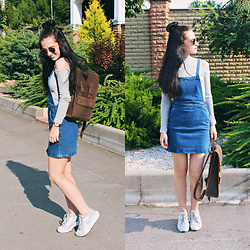 Maria Perchekliy - Asos Pinafore Dress, Nike Sneakers, Ray Ban Sunnies, H&M Top, Baglett Backpack - Girl from 90's