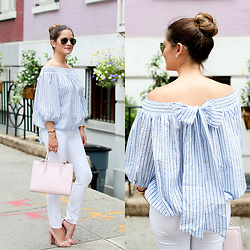 Jenn Lake - Chicwish Off The Shoulder Bow Top, Paige Denim White Ankle Jeans, Steve Madden Nude Patent Carrson Sandals, Ray Ban Aviator Sunglasses, Strathberry Pink Midi Tote - Off the Shoulder Bow Top