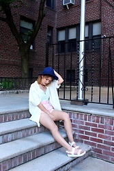Leanne A - H&M Blue Fedora Hat, H&M Cream Cardigan, Zara Pink High Waisted Shorts, Forever 21 Blue Crop Top, Aldo White Sandals - Clean