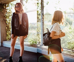 Astrid H - H&M Leather Jacket, Forever 21 Backpack - OH SUMMER