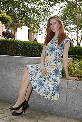 Rebecca Salter - Hell Bunny Floral Dress, H&M Nude Tights, Debenhams Black Heels, Sekonda Watch - A SPATTERING OF FLOWERS