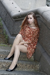 Rebecca Salter - Dorothy Perkins Orange Dress, Sekonda Watch, H&M Nude Tights, Debenhams Black Heels - The kimono dress