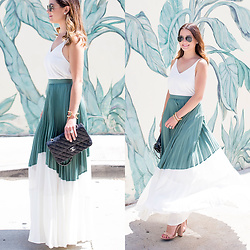 Jenn Lake - Asos Green And White Pleated Skirt, Topshop White Camisole Tank, Chanel Quilted Medium Flap Bag, Giles And Brother Gold Cortina Cuff, Steve Madden Nude Patent Carrson Sandals, Kate Spade Crystal Stud Earrings, Ray Ban Aviator Sunglasses - Green and White Pleated Skirt
