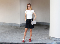Anna Gotsyk - Marks & Spencer Top, Marks & Spencer Skirt, Topshop Sneakers, Christian Dior Bag - Back to 70s