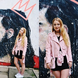 Marina Scofield - Zara Leather Jacket, Primark Sneakers, Romwe Shirt, Oasap Dress, Parfois Necklaces - Think pink