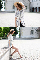 Lorietta.cz - H&M Straw Hat, Mango Striped Shirt - Boater Hat
