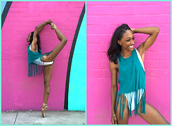 Precious Gilbert - Forever 21 Fringed Hem Top, American Apparel Tricot High Cut One Piece Swim - Sunday Doodle...