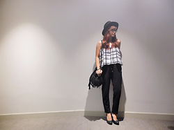 Katrina Enrera - Cotton On Black Fedora, Grid Tube Top, Black Trousers, Call It Spring Black Pumps - Monochromatic