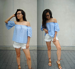 Sheila - Gamiss White Shorts, Gamiss Lace Up Sandals - Gamiss Summer Outfit