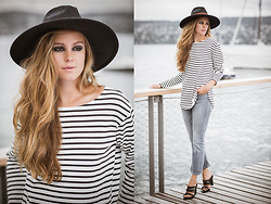 Mina T - Nili Lotan Striped Sweater, H&M Sandals, H&M Hat, Goldsign High Waist Cropped Denim, Rag & Bone Fedora - French Riviera