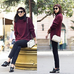 Adriana Seminario - Ayni Alpaca Sweater, Gap Slim Fit Pants, Zara Purse, Butrich Retro Style Oxfords, Dior Sunglasses - Burgundy and Butrich
