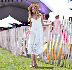 Lauren G. - Talulah White Lace Midi Dress, M. Gemi Two Toned Mules, Nasty Gal Straw Boater Hat, Quay Polarized Sunglasses - Lacey LWDs