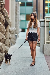 Maria P - Dresslink White Lace Crop Top, Sammydress Black Leather Curve Hem Shorts, Aliexpress Black Block Heel Strappy Sandals - Lace & Leather