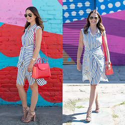 Jenn Lake - Asos Stripe Tie Waist Dress, Kate Spade Cobble Hill Adrien Bag, Steve Madden Skales Cage Sandals, Movado Rose Gold Edge Watch, Ray Ban Aviator Sunglasses - Blue Stripe Tie Waist Dress