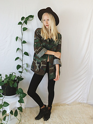 Callie S. - Usmc Authentic Vintage Camouflage Button Up, Thrifted Wide Brim Fedora, American Apparel Cotton Leggings, Thrifted Vintage Army Boots - Camouflaged