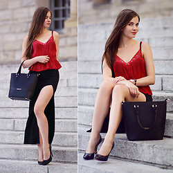 Ariadna M. - Black Midi Skirt, Red Lace Top - Chic