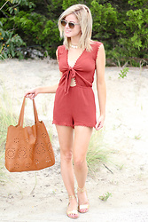 Kim Tuttle - Street Level Tote Bag, Loeffler Randall Starla, Forever 21 Tie Front Romper, Ray Ban Clubmaster - Tie-front romper
