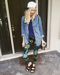 Callie S. - Birkenstocks Mocha Suede, American Apparel Leafy Green Cotton Leggings, Vintage Denim Western Button Up, American Apparel Oversized Cropped Tee, Vintage Baseball Cap - Salad days