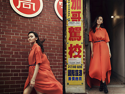 Pxkin - Xee Vang Shirt Dress, Black Booties, Blue Belt, Cuff Earrings - Roaming in Chinatown