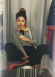 Elenalien - H&M Striped Shirt, Free People Cropped Flared Trousers - Bonjour, Bitch
