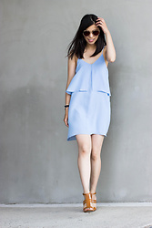 Vivian Tse - Mango Layered Dress, Polette Sunnies, Mango Heeled Sandals - Sky blue summery