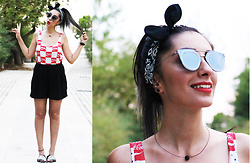 FOSBLOQUE Aristakesyan - Stradivarius Crop Tank Top, H&M High Waisted Black Shorts, Mango Slippers, Tally Weijl Black Bandana, Ojo Mirror Shades - Open Happiness