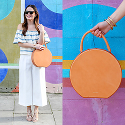 Jenn Lake - Mara Hoffman Ruffle Off Shoulder Top, Nordstrom White Wide Leg Culottes, Mansur Gavriel Circle Bag, Loeffler Randall Luz Tassel Lace Up Sandals, Giles And Brother Large Cortina Cuff, J. Crew Tortoise Sam Sunglasses - Off Shoulder Ruffle Top