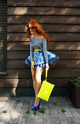 Irina Petrova - Kari Neon Yellow Clutch Bag, Centro, Oodji Neon Yellow Belt - Naughty Van Gogh