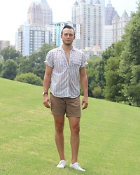 Wes Lambert - Zara White Dress Shoes, Thrift Store Striped Linen Shirt, Thrift Store Leather Watch - Summer Stripes