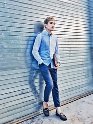 Dake Hu - Gant Rugger Shirt, Zara Pants, Cole Haan Loafers - Blue x Stripe