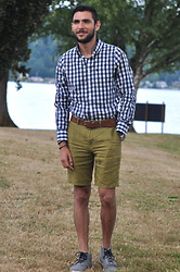 Hector Diaz - Abercrombie & Fitch Gingham Patterned Long Sleeve Shirt (Similar), Club Monaco Olive Green Summer Shorts (Similar), Club Monaco Leather Belt, Michael Kors Watch, Creative Recreation Shoes (Similar) - A Day at the Park