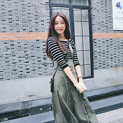 Eve Zhang - Eve Zhang Women Lovely Strapless Flounced Army Green Open Neck Harness Dress - Shanghai wall