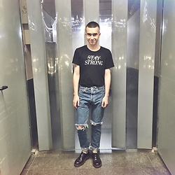 Vladimir Tsymbalyuk - New Yorker T Shirt, Levi's® Own Made Jeans, Dr. Martens Boots - Stay strong