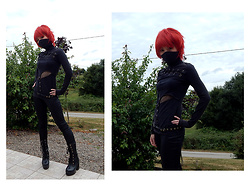 Nowaki Selenocosmia - Punkrave Black Shirt, Fake Leather Zipper Legging, Black Boots - Visual kei ninja