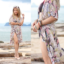 Sarah Mai - Mismash Beach Rope, Zalora Lace Up Heels, Pottglasses Rose Gold Sunglasses - Mismash Floral Beach Rope