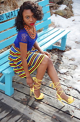 Louisa Moje - Justfab (Sold Out) Yellow Lace Up Tassel Heels, Multicolored Flare Stripe Skirt, Blue Lace Midi Dress, Amrita Singh Orange Reversible Bib Necklace - Yellow Fringe Tie-up Tassel Heels with Multicolored Flare ME