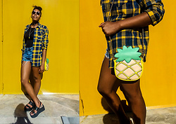Yara Snow'z - Primark Pineapple Bag, Zara Yellow And Blue Checker Shirt, Zara Jean Short, Pull & Bear Black Platforms, Zara Black Body - Yellow all the way up