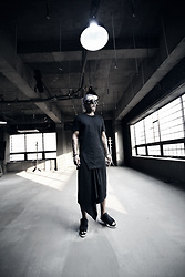 INWON LEE - Byther Spiky Studded Custom Sunglasses, Byther Traingular Shape Slit Edge T Shirt, Byther Triangular Diagonal Line Skirt Layerd Wide Leg Pants - Spiky Slit Edge Sporty Black
