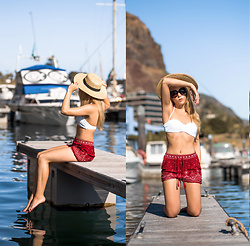 Silver Girl - French Connection Uk Boater Hat, Asos Oversized Sunglasses, Zara Bikini Bandeau, New Look Aztec Shorts - YACHT HARBOUR